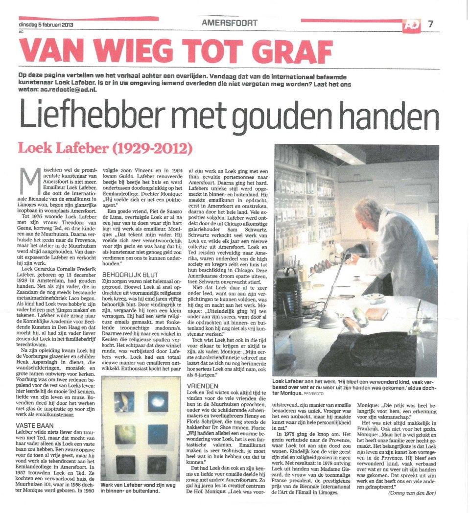 Algemeen Dagblad 5 februari 2013 Van Wieg tot Graf, Liefhebber met gouden handen