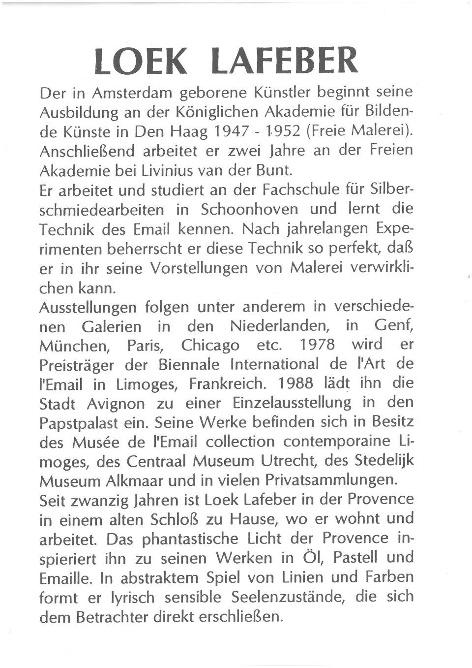 Deutscher Text über das Oeuvre von Loek Lafeber
