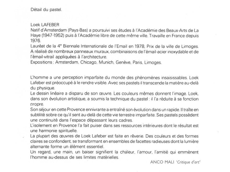 Texte francais sur l'oeuvre, Anco Mali