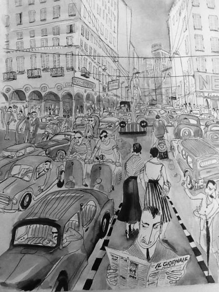 Italië jaren vijftig, vakantietekening