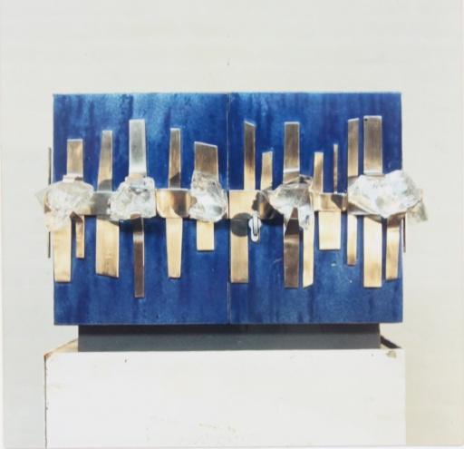 Tabernakel kristal email en staal eind jaren 60 voor kapel ziekenhuis Schiedam